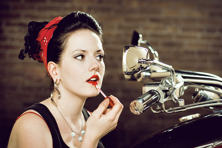 Retro Pinup Motorcycle Model Photography Los Angeles